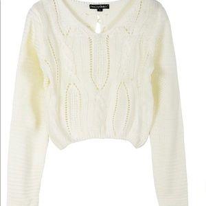 PrettyGuide Women's Lace Up Crop Top Sweater